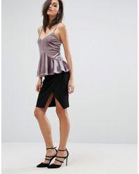 Club L - Brown Cami Strap Top With Soft Peplum - Lyst