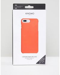 Knomo - Orange London Real Leather Iphone 7/8 Case - Lyst