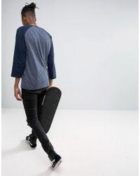 ASOS - Blue Relaxed Fit Raglan Long Sleeve T-shirt In Navy for Men - Lyst