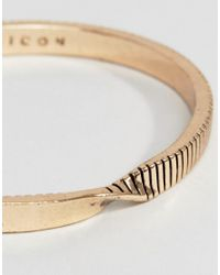 Icon Brand | Metallic Twisted Cuff Bangle Bracelet In Antique Gold | Lyst
