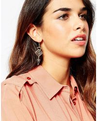 ASOS - Metallic 70s Geo Drop Earrings - Lyst