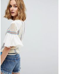 Free People - White Babes Only Stripe Tee - Lyst