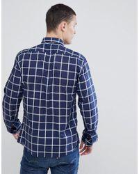 HUGO - Blue Slim Fit Window Pane Check Shirt In Navy for Men - Lyst