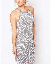 True Decadence | Gray Allover Embellished Cami Shift Dress | Lyst