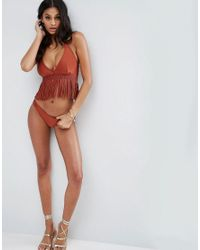 ASOS - Brown Fuller Bust Macrame Fringed Hidden Underwire Bikini Top - Lyst