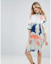 Liquorish Satin Cold Shoulder Print Dress in Blue - Lyst d8f9b948c
