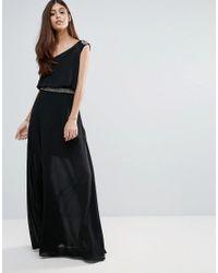 Zibi London - Black Belted Maxi One Shoulder Dress - Lyst