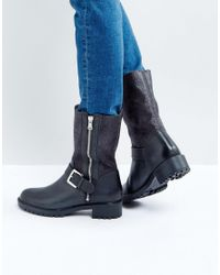 Dune - Black Faux Fur Lined Mid-calf Boot - Lyst
