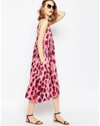 ASOS - Multicolor High Neck Full Midi Dress In Blurred Pansy Print - Lyst