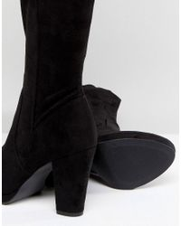New Look - Black Heeled Suedette Over The Knee Boot - Lyst