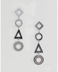 ASOS - Metallic Hammered Geo Shape Strand Earrings - Lyst
