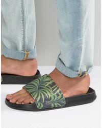 Slydes - Black Slider Flip Flops In Palm Print for Men - Lyst