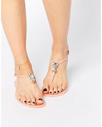 ASOS | Pink Fabulous Embellished Jelly Sandals | Lyst