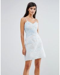 Aijek - Blue Lace Wiggle Mini Dress - Lyst
