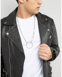 ASOS - Metallic Necklace In Silver With Safety Pin Pendant for Men - Lyst