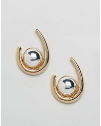 ASOS - Metallic Statement Ball Hoop Earrings - Lyst