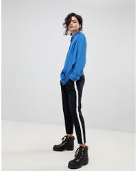 Gestuz - Blue Drape Wrap Shirt With High Collar - Lyst