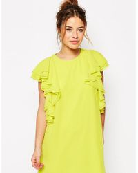ASOS - Yellow Ruffle Mini Shift Dress - Lyst
