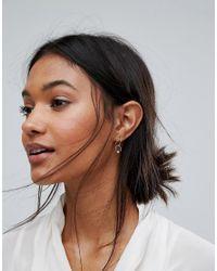 Pieces - Metallic Twirl Earrings - Lyst