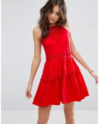 ASOS - Red Sundress With Lace Inserts And Pom Poms - Lyst