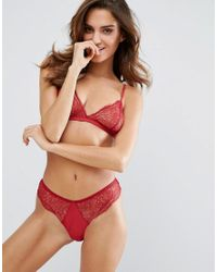 Mango - Red Triangle Lace Bralet - Lyst