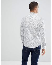Only & Sons - White Slim Fit Shirt With Ditsy Print for Men - Lyst