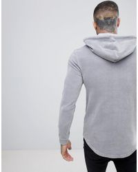 ASOS - Gray Muscle Hoodie In Grey Velour With Curved Hem for Men - Lyst