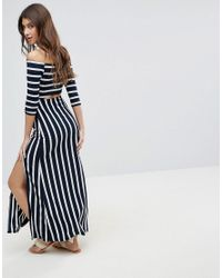 ASOS - Blue Bardot Maxi Dress With Cut Out In Stripe - Lyst