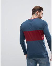 ASOS DESIGN - Blue Asos Long Sleeve Crew Neck T-shirt With Colour Block for Men - Lyst