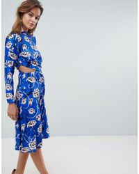 ASOS - Pink Asos Bright Floral High Neck Cut Out Midi Dress - Lyst