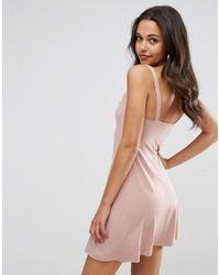 ASOS - Pink Mini Cowl Front Swing Dress - Lyst