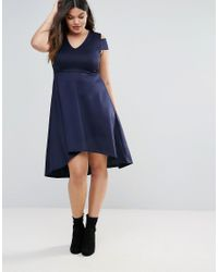 Boohoo - Blue Exposed Shoulder Skater Dress - Lyst