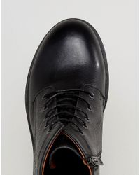 SELECTED - Trevor Leather Lace Up Boots In Black for Men - Lyst
