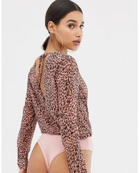 Missguided - Multicolor Wrap Front Bodysuit In Leopard - Lyst