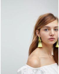 ASOS - Yellow Teardrop Jewel And Triple Tassel Earrings - Lyst