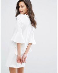 Miss Selfridge - White Flute Sleeve Shift Mini Dress - Lyst