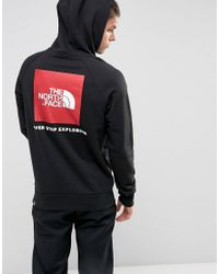 The North Face Raglan Hoodie Back Red Box Logo In Black in Black for ... 16a9586b1755