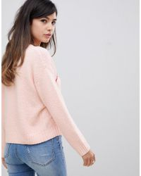 ASOS - Pink Amour Jumper In Eco Yarn - Lyst