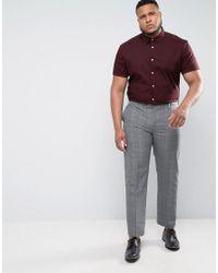 ASOS - Red Plus Slim Shirt In Burgundy In Short Sleeves for Men - Lyst