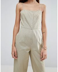 ASOS - Black Cami Jumpsuit With Frill Hem And Button Front - Lyst
