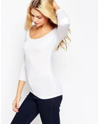 ASOS - White The Scoop Neck Top With Long Sleeves - Lyst