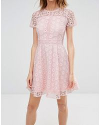 Warehouse - Pink Mixed Lace Prom Dress - Lyst
