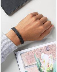 Emporio Armani - Textured Leather Bracelet In Black - Lyst