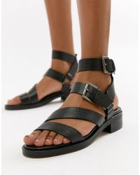 ASOS - Black Lotus Leather Chunky Sandals - Lyst