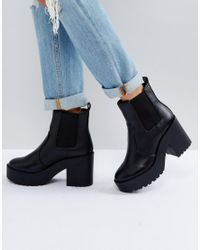 New Look - Black Chunky Heeled Chelsea Boot - Lyst