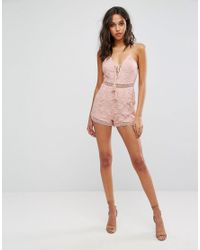 Missguided - Pink Lace Up Detail Playsuit - Lyst