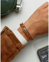 ASOS - Bracelet In Brown And Red With Burnished Clasp for Men - Lyst