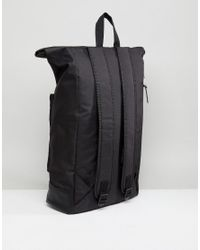ASOS - Asos Rolltop Backpack In Black With Faux Leather Base for Men - Lyst