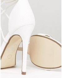 Missguided - White Lace Up Barely There Heeled Sandals - Lyst