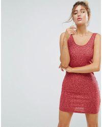 ASOS - Red Asos Mini Bodycon Dress In Marl Rib - Lyst